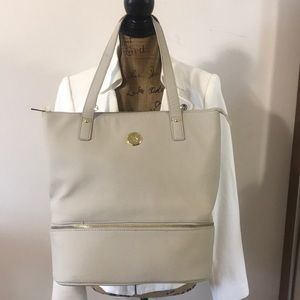 Joy Mangano double decker leather tote handbag.